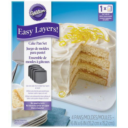 Wilton - Square Cake Pan Easy Layers - Quadrat - 15cm - Set