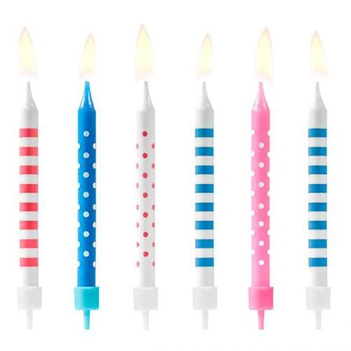 Geburtstagskerzen - Punkte & Streifen - Blau/Rosa