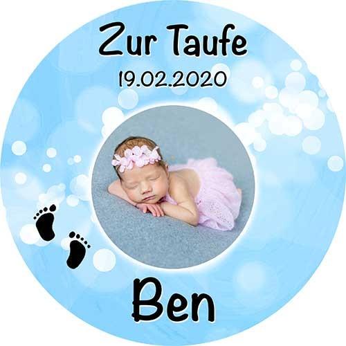 Tortenbild Taufe Rund Motiv 2 Blau